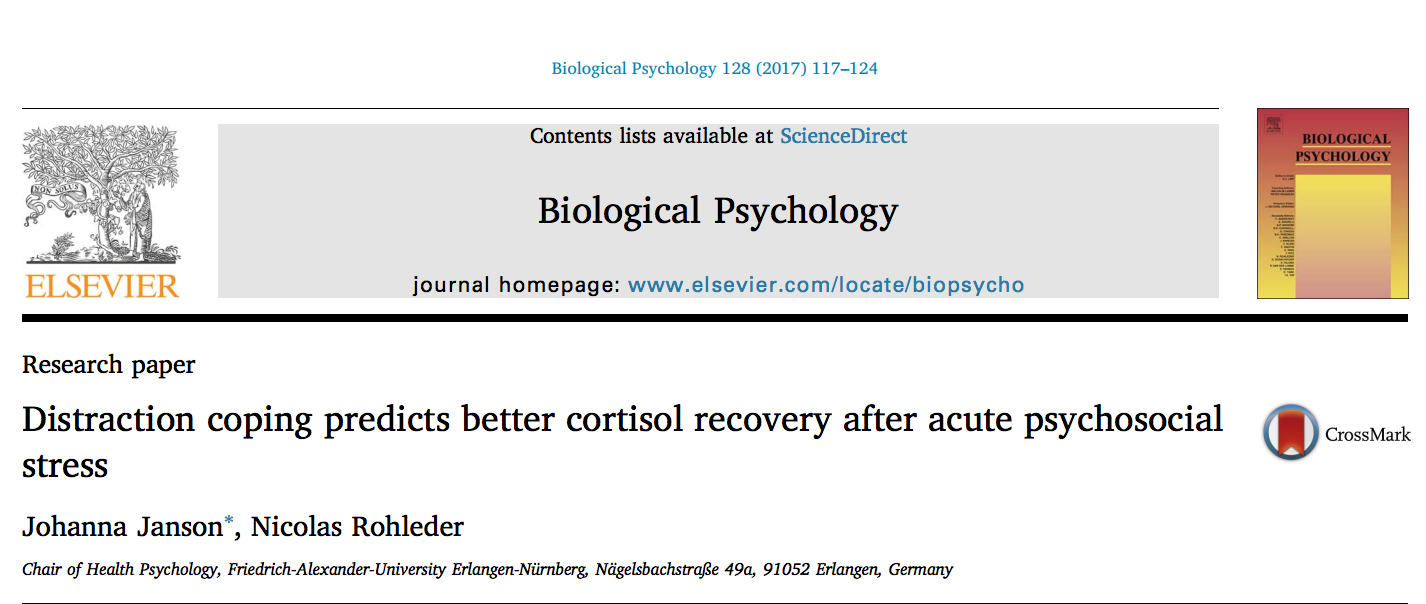 "Towards entry ""New Paper: Distraction coping predicts better cortisol recovery after acute psychosocial stress"""